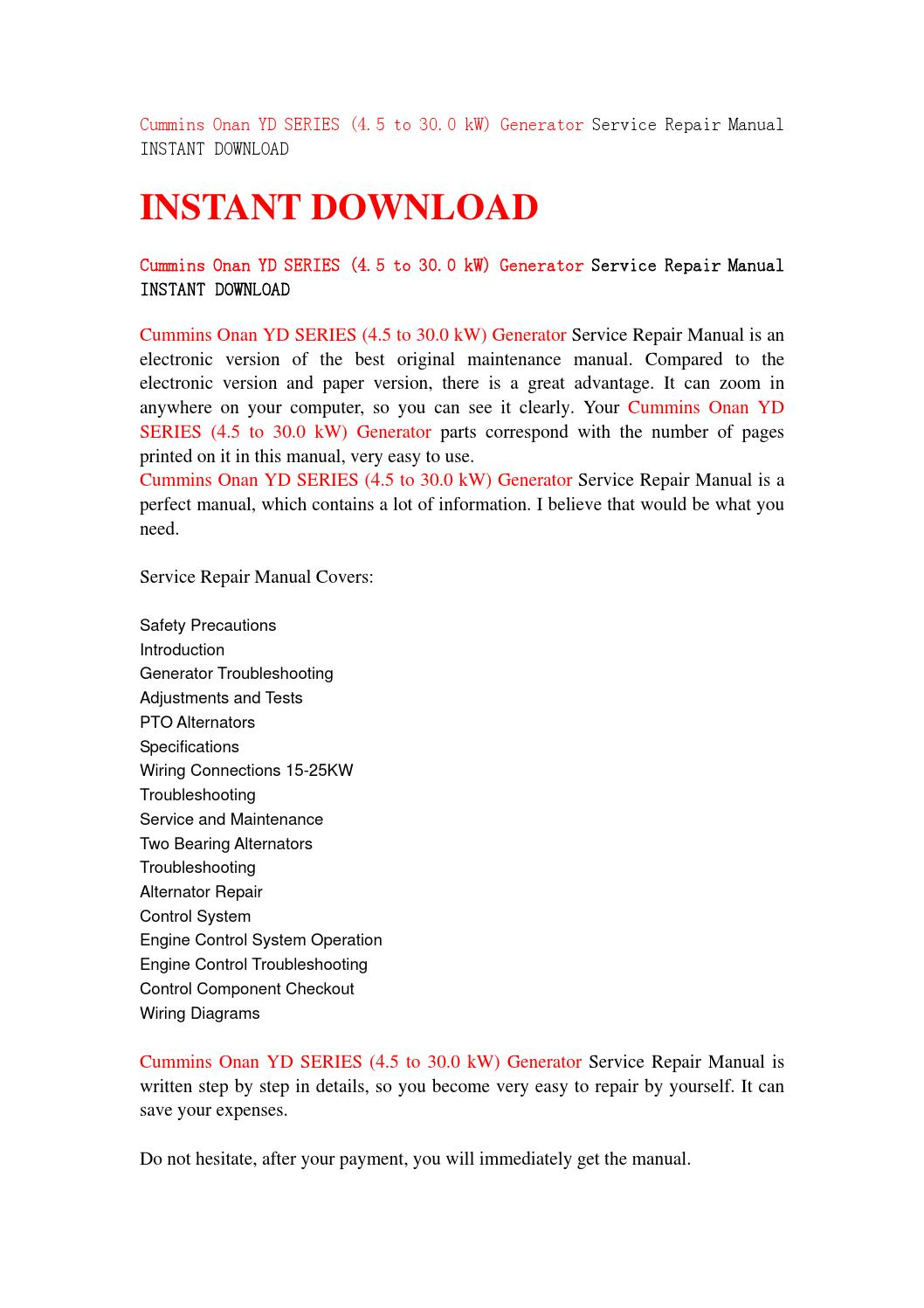 Cummins Onan Yd Series  4 5 To 30 0 Kw  Generator Service Repair Manual Instant Download By