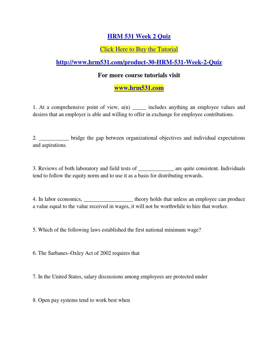 hrm 531 week 2 quiz Documents similar to hrm 531 week 6 quiz 100% score skip carousel hrm 531 week 6 paper hrm 531 final exam answers week 2 knowledge check study guide (1.