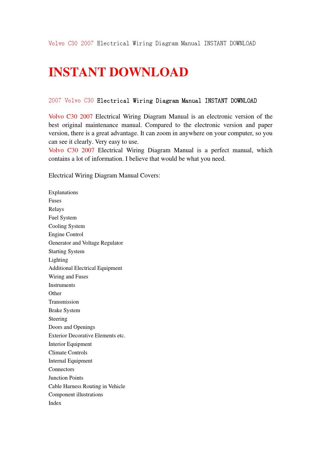 Volvo C30 2007 Electrical Wiring Diagram Manual Instant Download By Servicemanuald89s