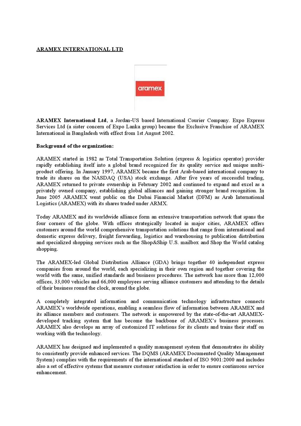 Case study on aramex international limited by Md Papon - issuu