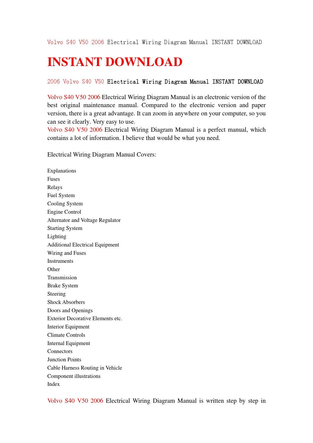 Volvo S40 V50 2006 Electrical Wiring Diagram Manual Instant Download By Servicemanuald89s