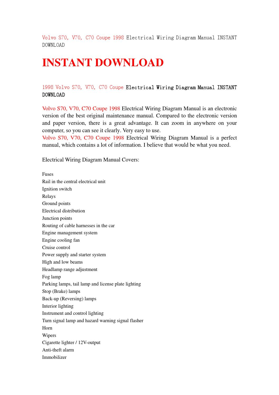 Volvo S70 V70 C70 Coupe 1998 Electrical Wiring Diagram Manual Instant Download By Servicemanuald89s Issuu