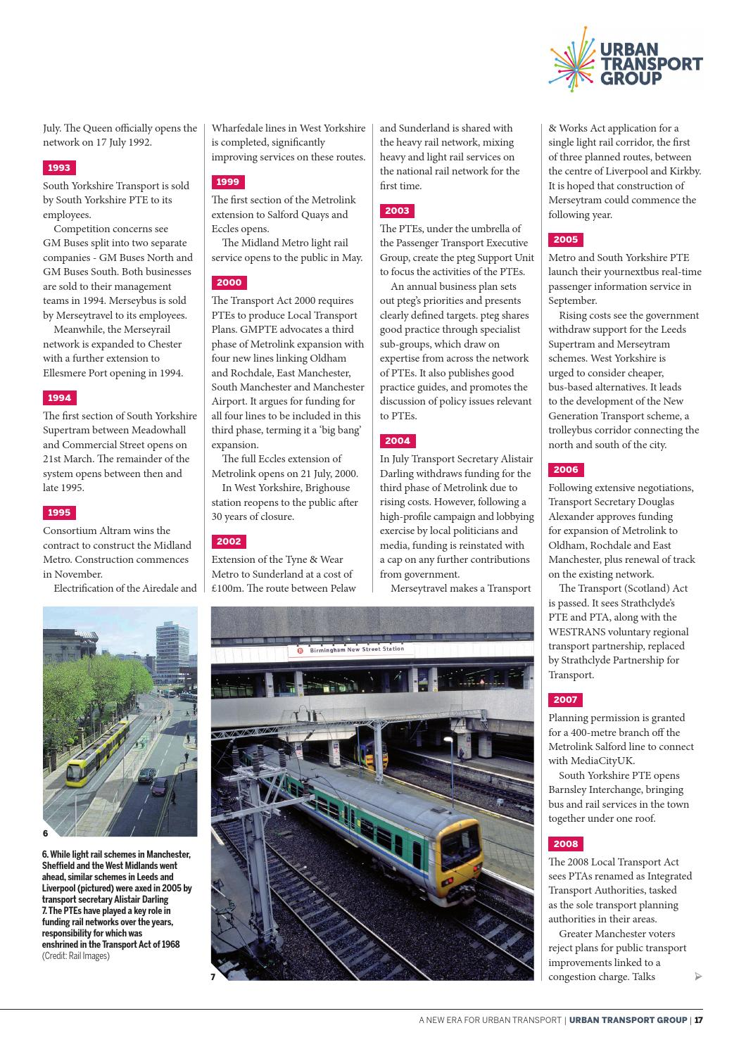 Urban Transport Group: A New Era For Urban Transport by