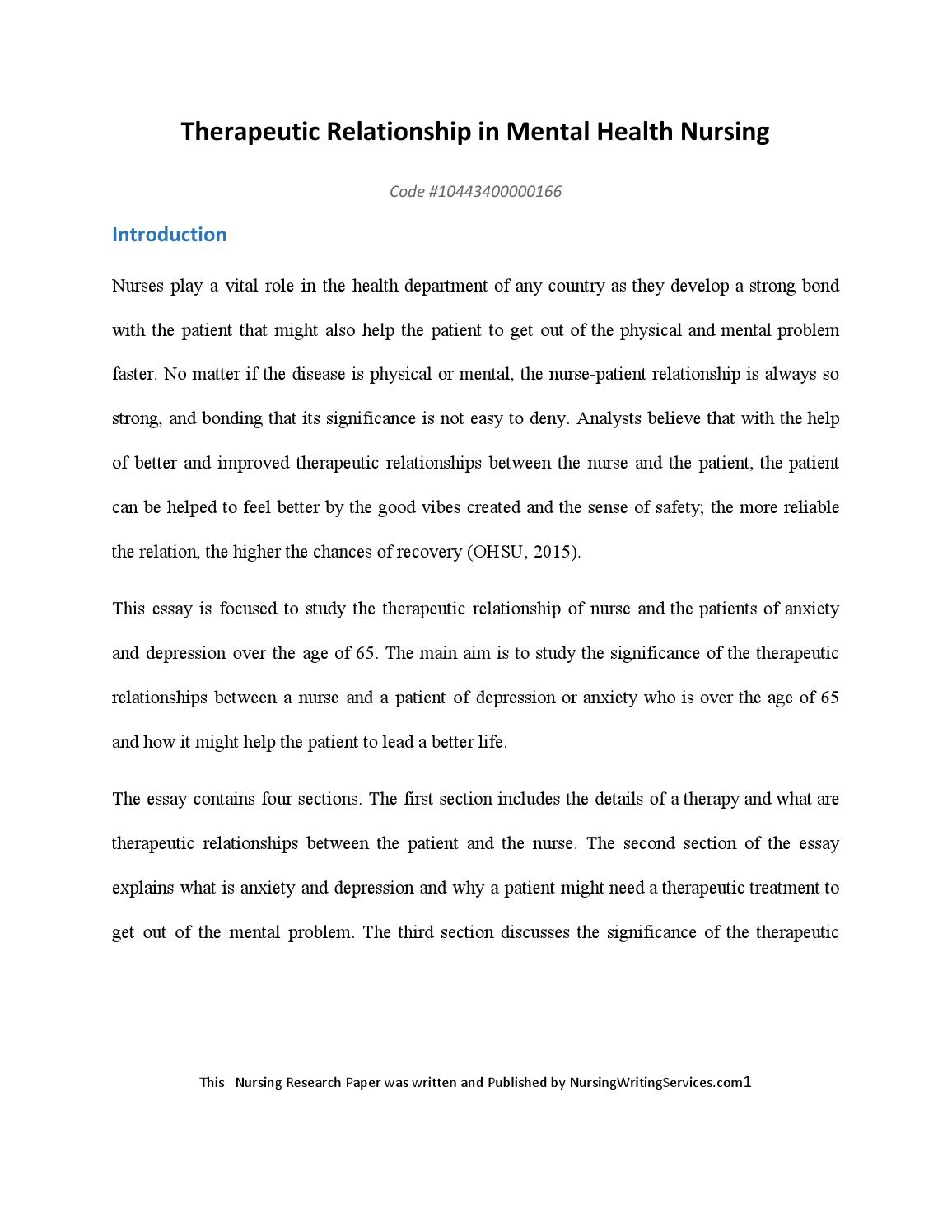 Therapeutic Relationship In Mental Health Nursing By Academic  Therapeutic Relationship In Mental Health Nursing By Academic Essay Writers   Issuu