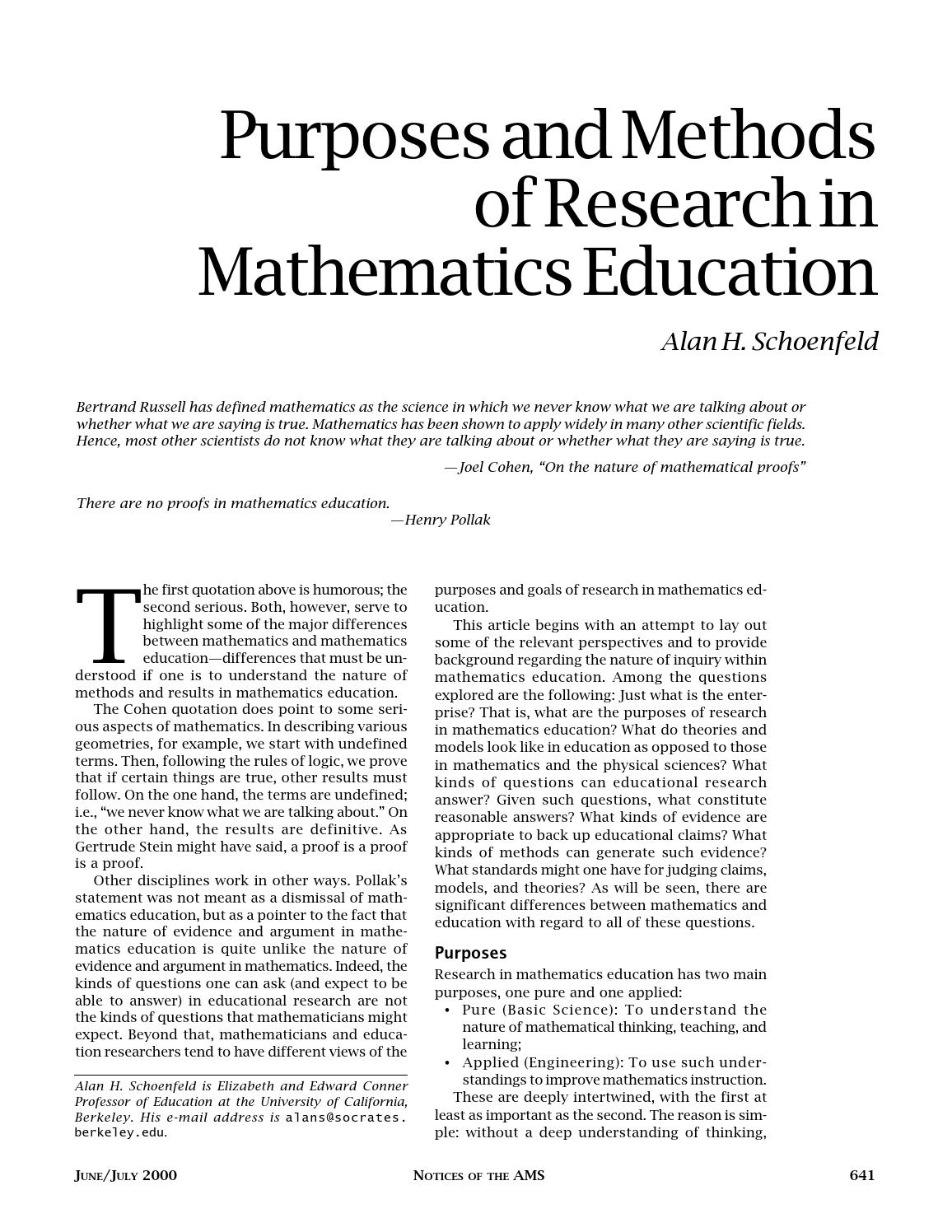 Purposes and methods inmath education by Heurística