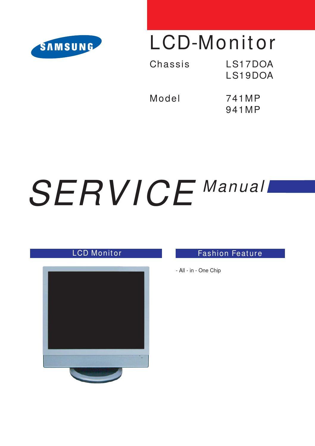 Manual De Servi U00e7o Monitores Samsung Modelos 941mp E 741mp Chassis Ls19doa E Ls17doa  By Portal