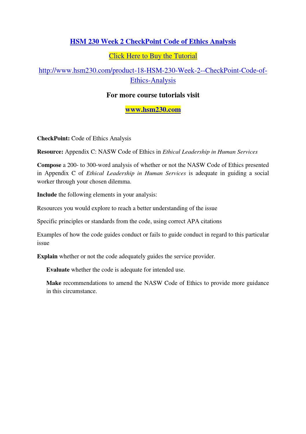 Hsm 230 week 2 checkpoint code of ethics analysis by mahi37 - issuu