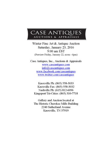 d572aa33 Winter Fine Art & Antique Auction Saturday, January 23, 2016 9:00 am EST  (Preview Friday, January 22, noon - 6pm)