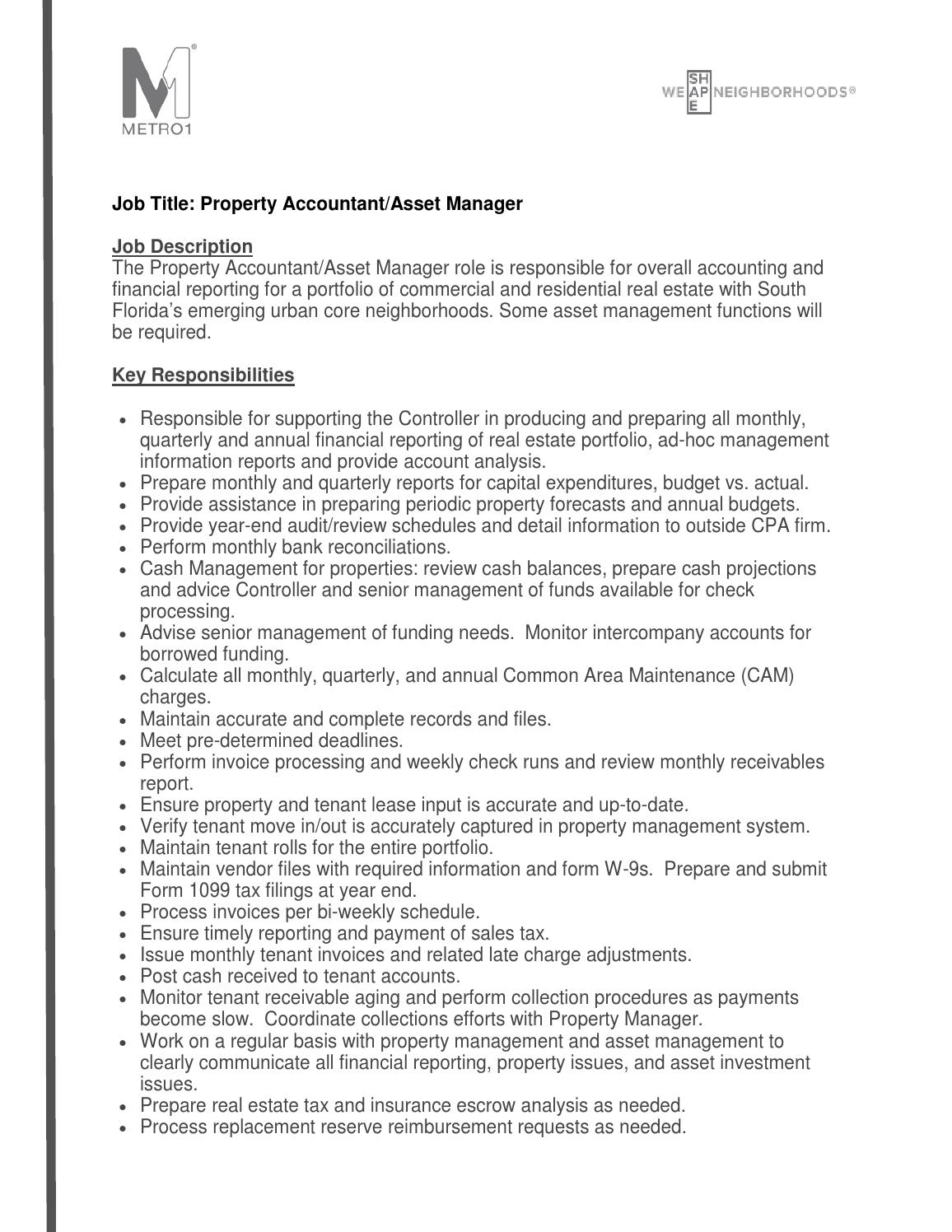 property accountant asset manager