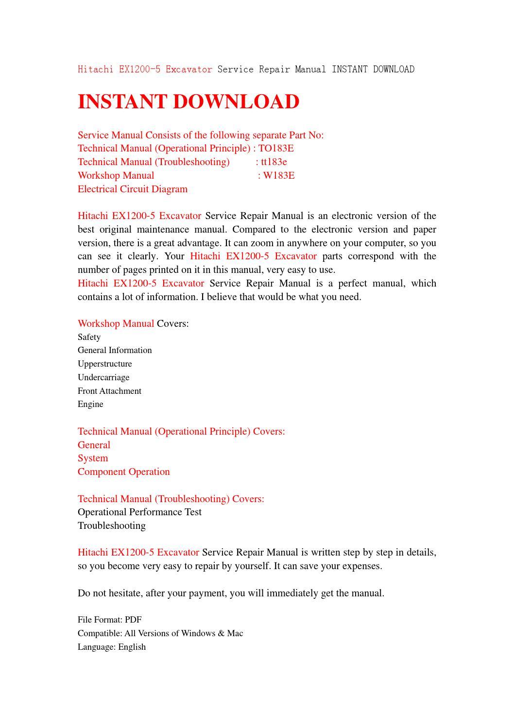hitachi ex1200 5 excavator service repair manual instant download by rh issuu com Makers Service Repair Manual Manufacturers Auto Repair Service Manuals