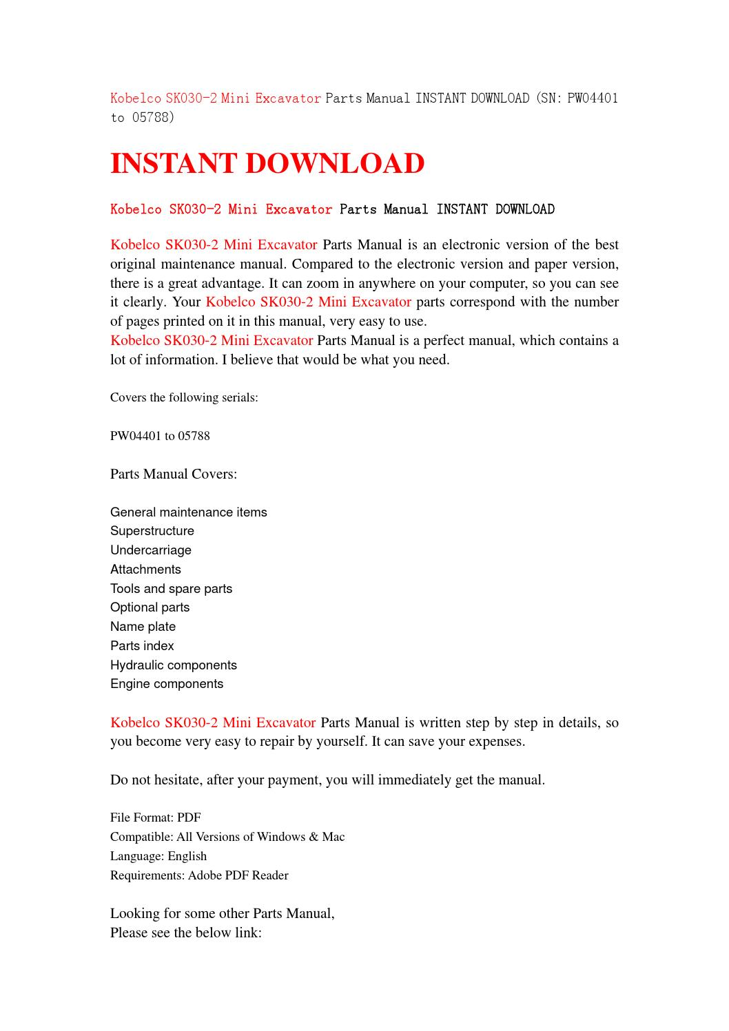 Kobelco sk030 2 mini excavator parts manual instant download