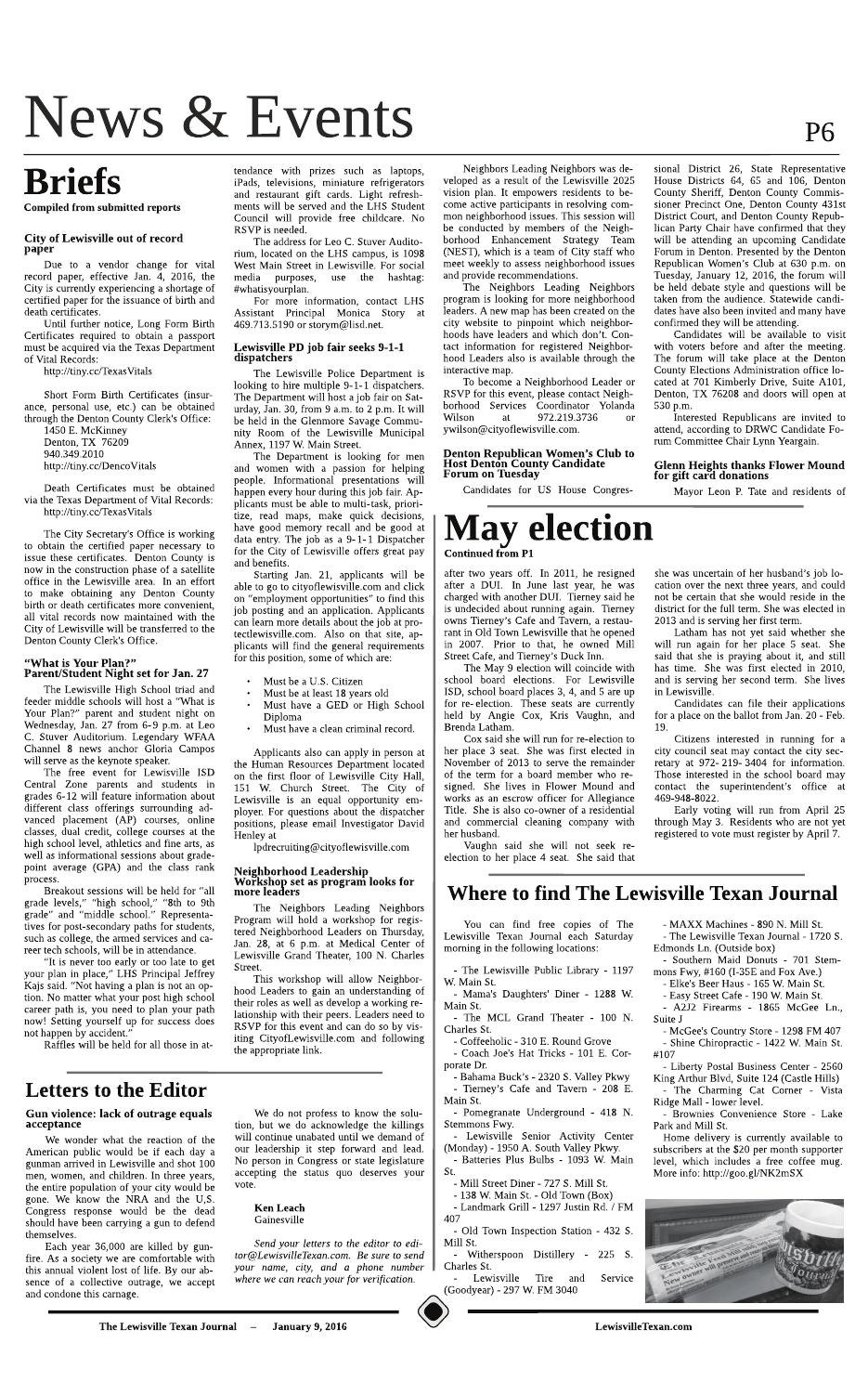 The Lewisville Texan Journal 01092016 By The Lewisville Texan