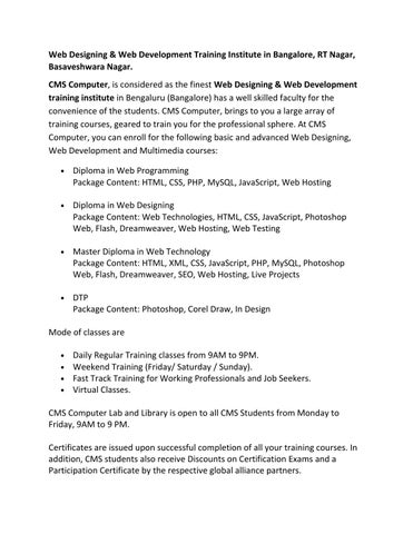 Web Designing & Web Development Training Institute in Bangalore, RT ...