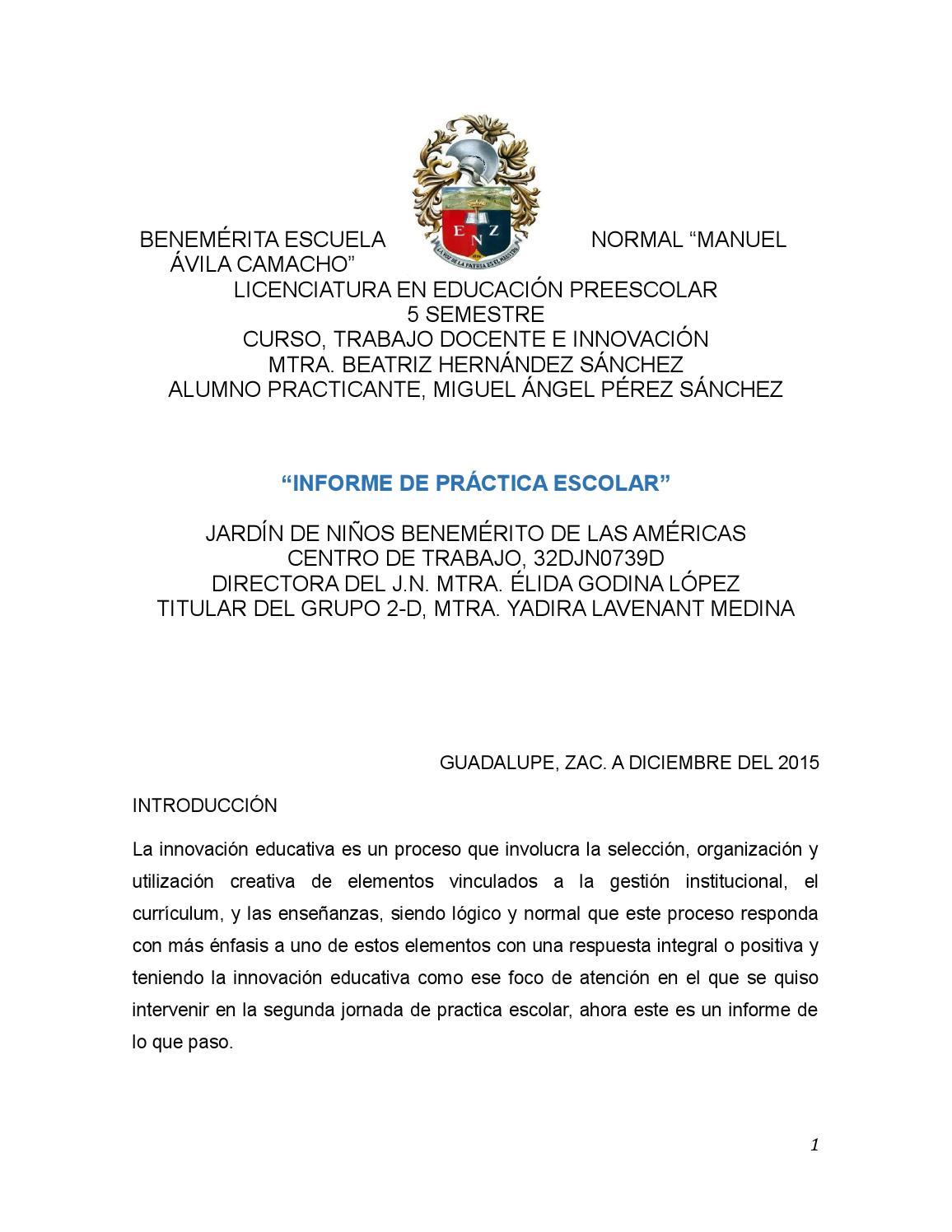 Informe de práctica docente by Ángel Pérez - issuu