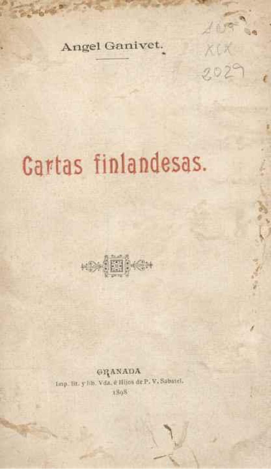 Cartas Filandesas / Ángel Ganivet by Concurso Literario ...