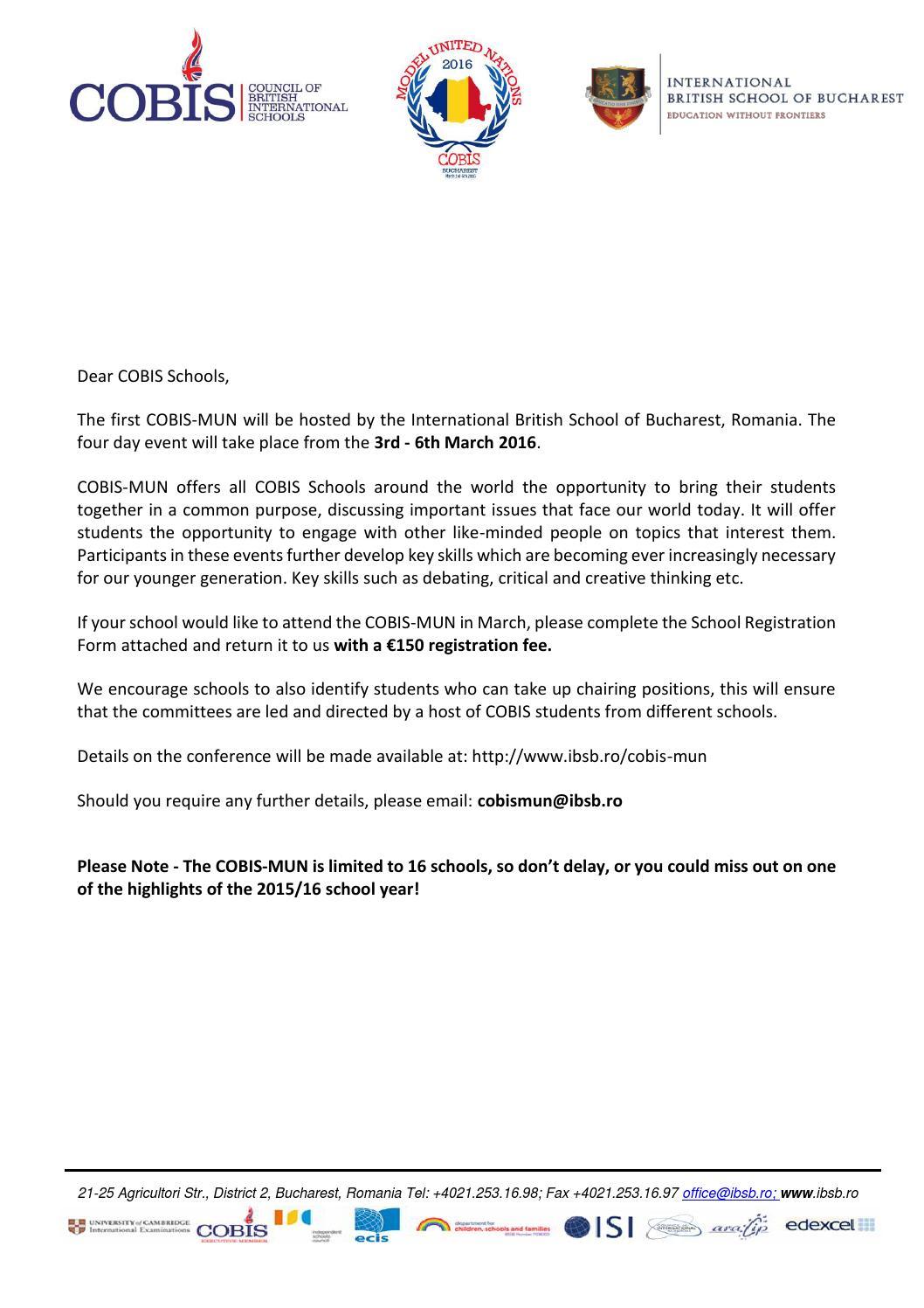 COBIS MUN Invitation Letter By International British School