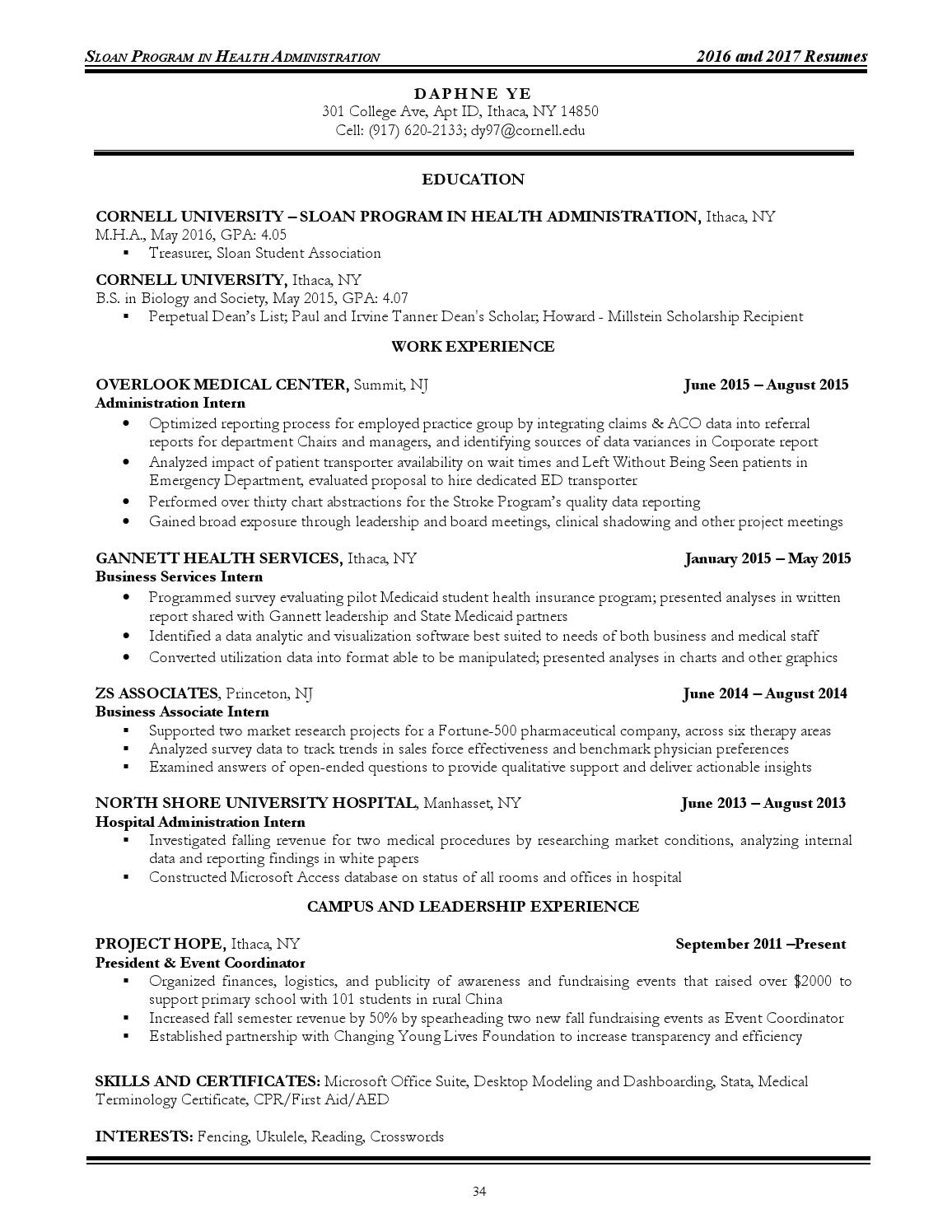 Sloan resume book 2016-2017 issuu by College of Human