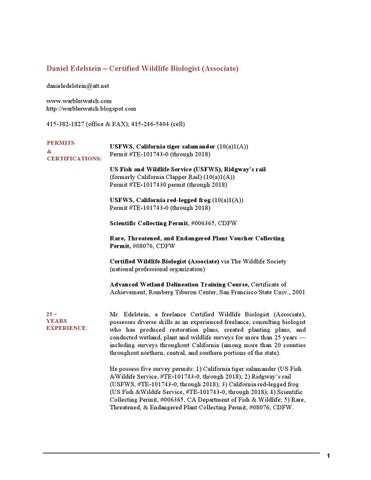 Daniel Edelsteins Certified Wildlife Biologist Associate Resume By
