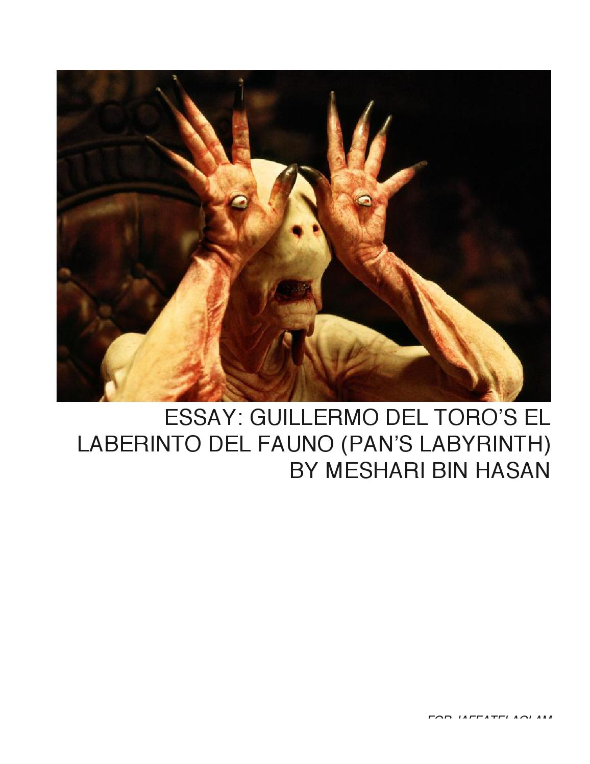 pan s labyrinth analysis essay example In guillermo del toro's movie pan's labyrinth film review pans labyrinth english literature essay print an example of such a scene is when captain.