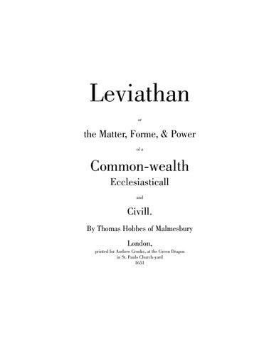 Thomas Hobbes, Leviathan by Jesús Silva Herzog M - issuu