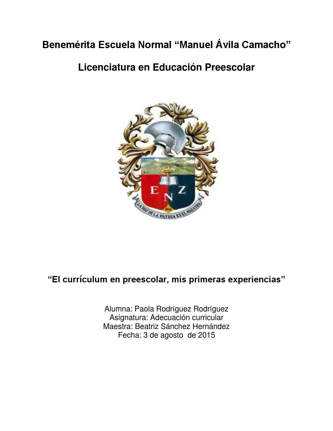 ensayo el curriculum en preescolar by Paola Rodriguez - issuu