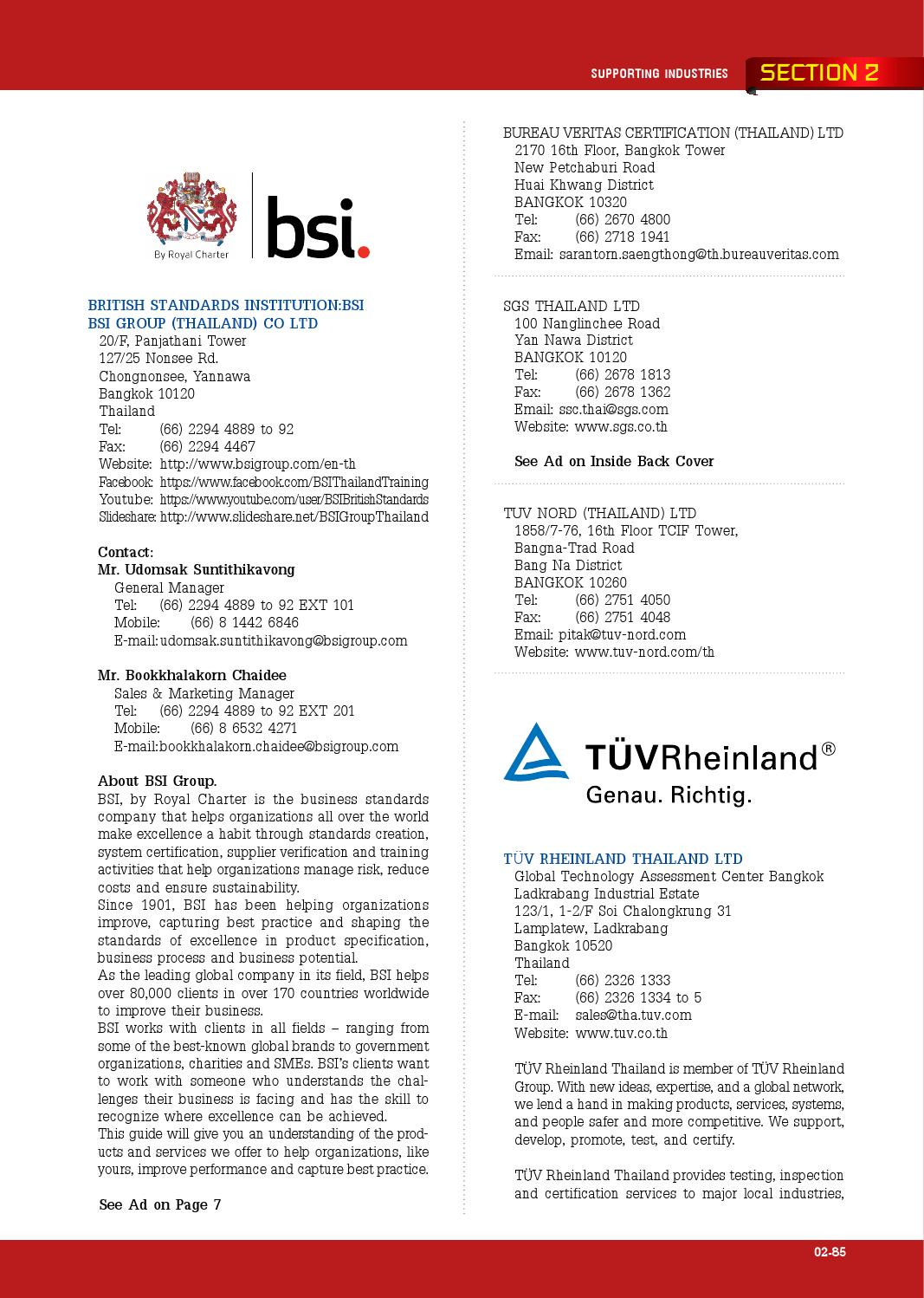 Directory of Thailand Auto Parts Testing and Testing Equipment