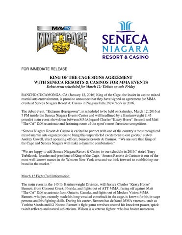 King Of The Cage Signs Agreement With Seneca Resorts Casinos For