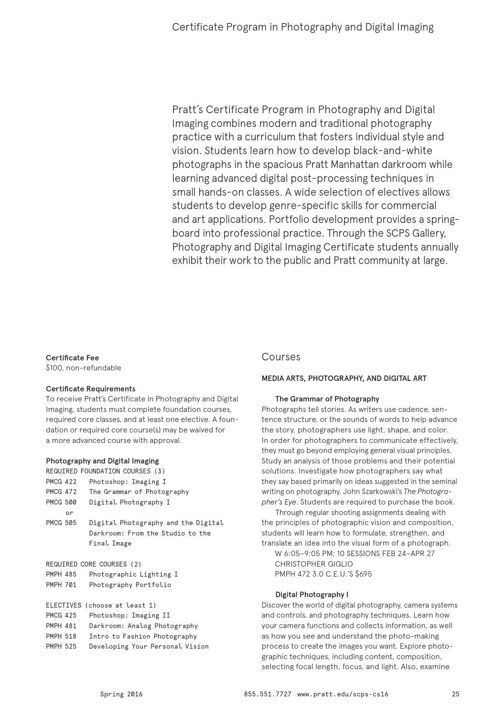 School of continuing and professional studies spring 2016 school of continuing and professional studies spring 2016 catalog by pratt institute issuu xflitez Images