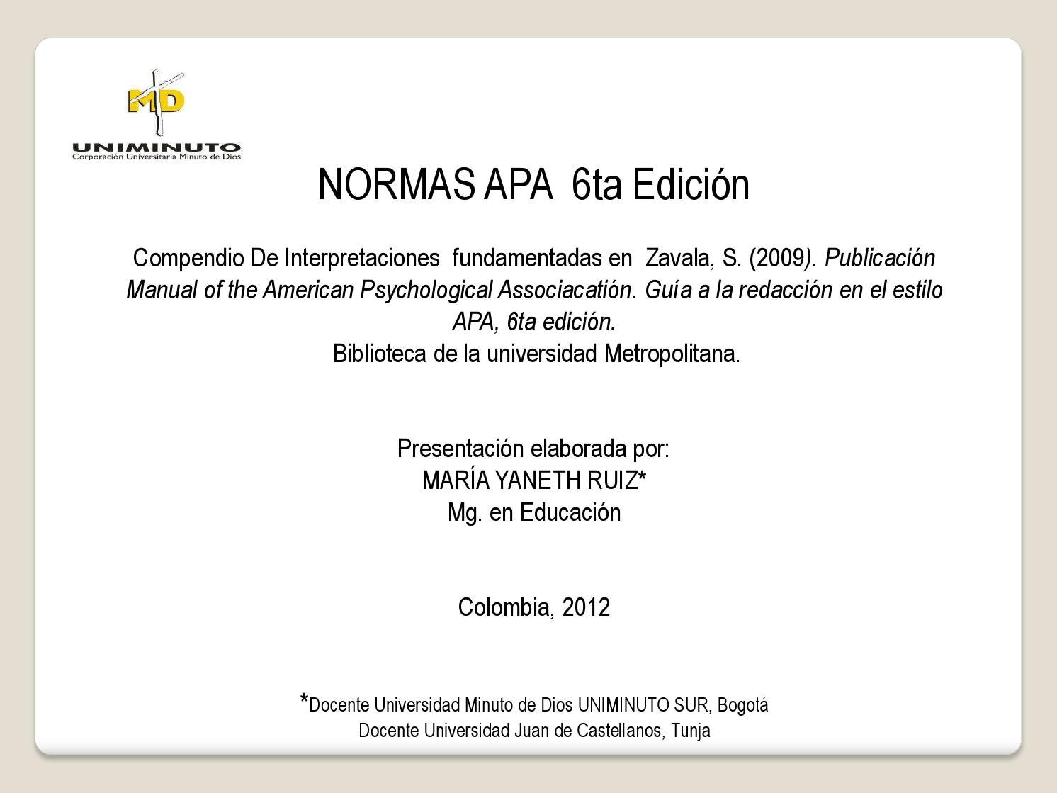 Normas Apa 6ta Edici On Uniminuto Libre By Dennis Colcha Issuu