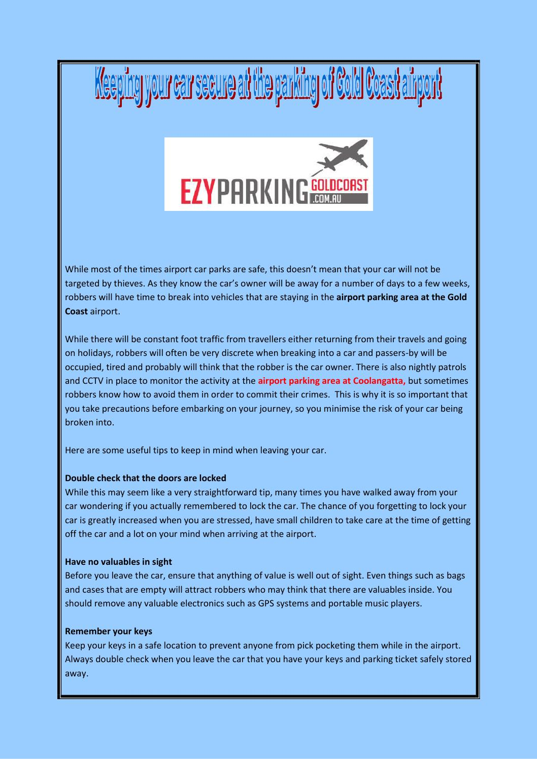 Keeping Your Car Secure At The Parking Of Gold Coast Airport By Ezy