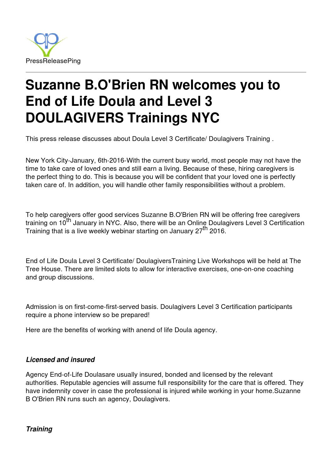 End of Life Doula and Level 3 DOULAGIVERS Trainings NYC by ...