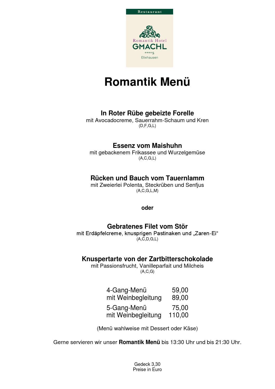 speisekarte restaurant gmachl elixhausen by romantik hotel gmachl issuu. Black Bedroom Furniture Sets. Home Design Ideas