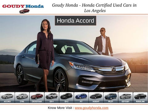 Page 1. Goudy Honda Honda Certified Used Cars In Los Angeles