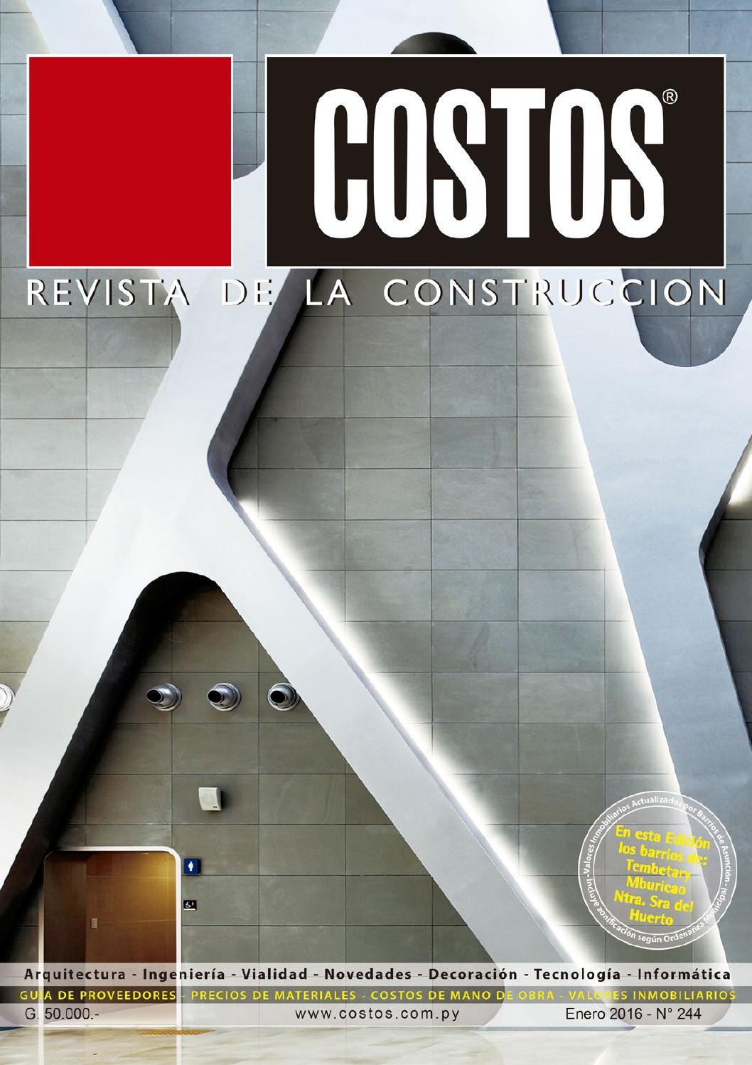 Costos 244 enero 2016 by revista costos paraguay issuu for Precios mano de obra construccion 2016 espana