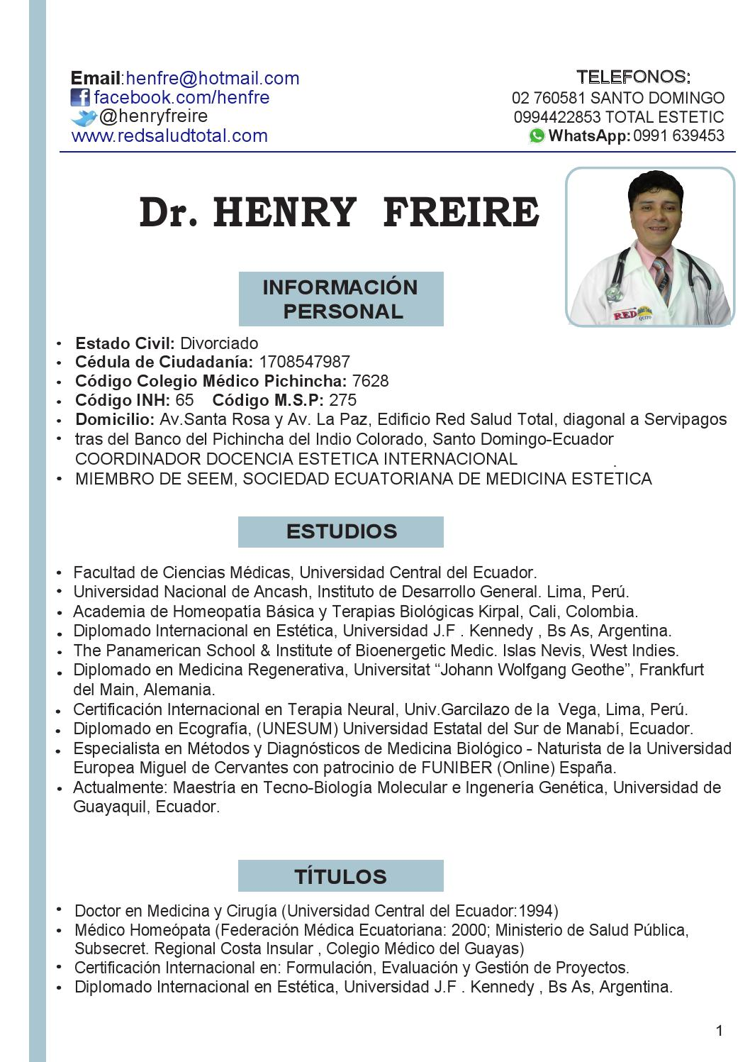 Curriculum dr henry freire by Dr. Henry Freire - issuu