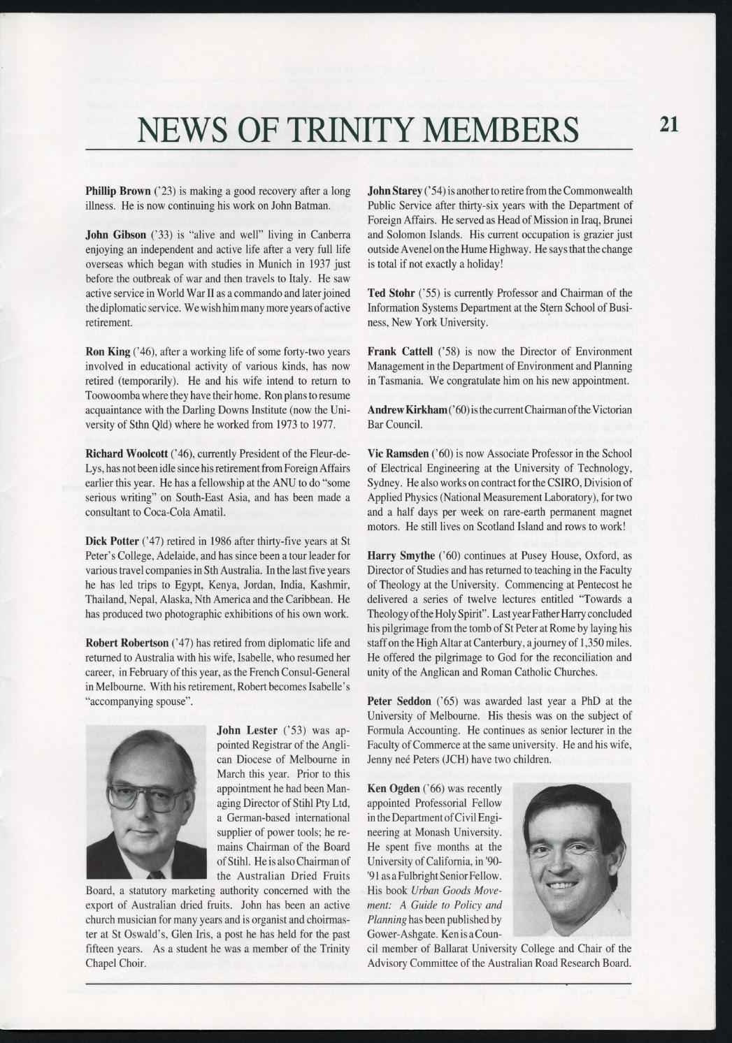 Trinity College Newsletter, vol 1 no 45, December 1992 by Trinity