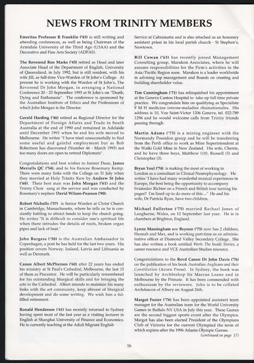 Trinity College Newsletter, vol 1 no 47, August 1993 by Trinity