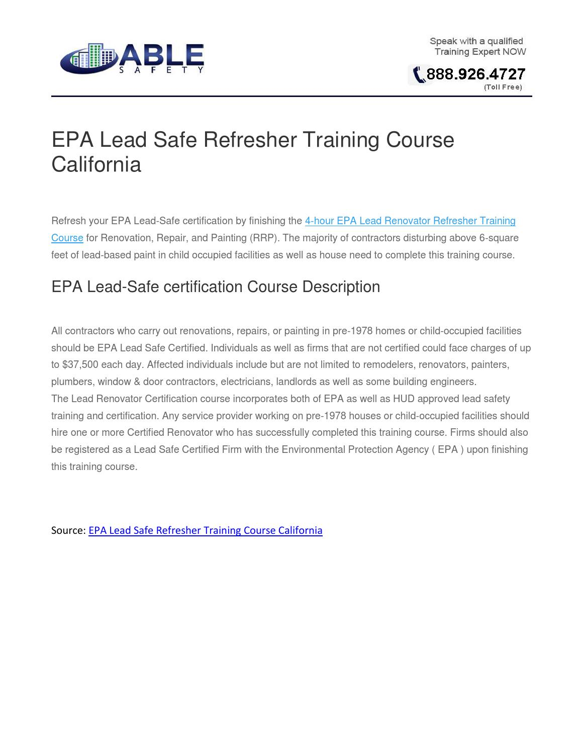 Epa Lead Safe Refresher Training Course California By John Madrigal