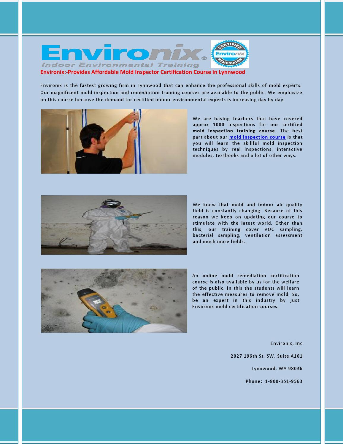Mold Inspection Training Course By Environix Inc Issuu