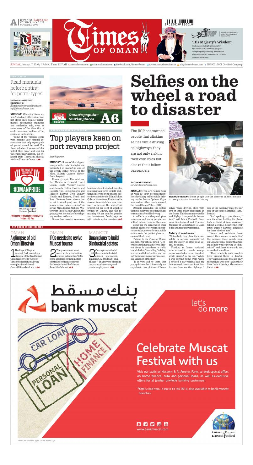 Times of Oman - January 17, 2016 by Muscat Media Group - issuu