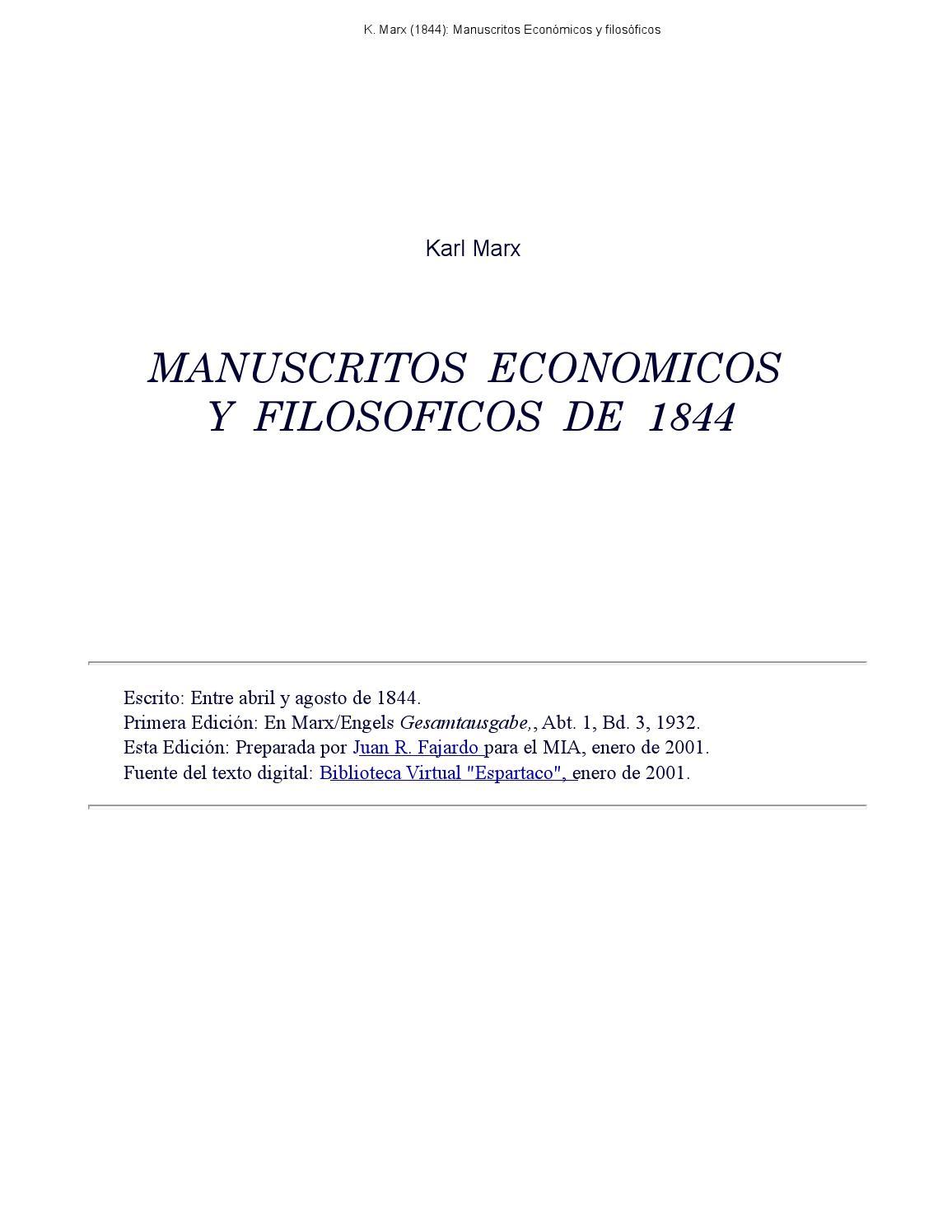 Manuscritos económicos y filosóficos de 1844. Karl Marx by Lidushka Lidka -  issuu