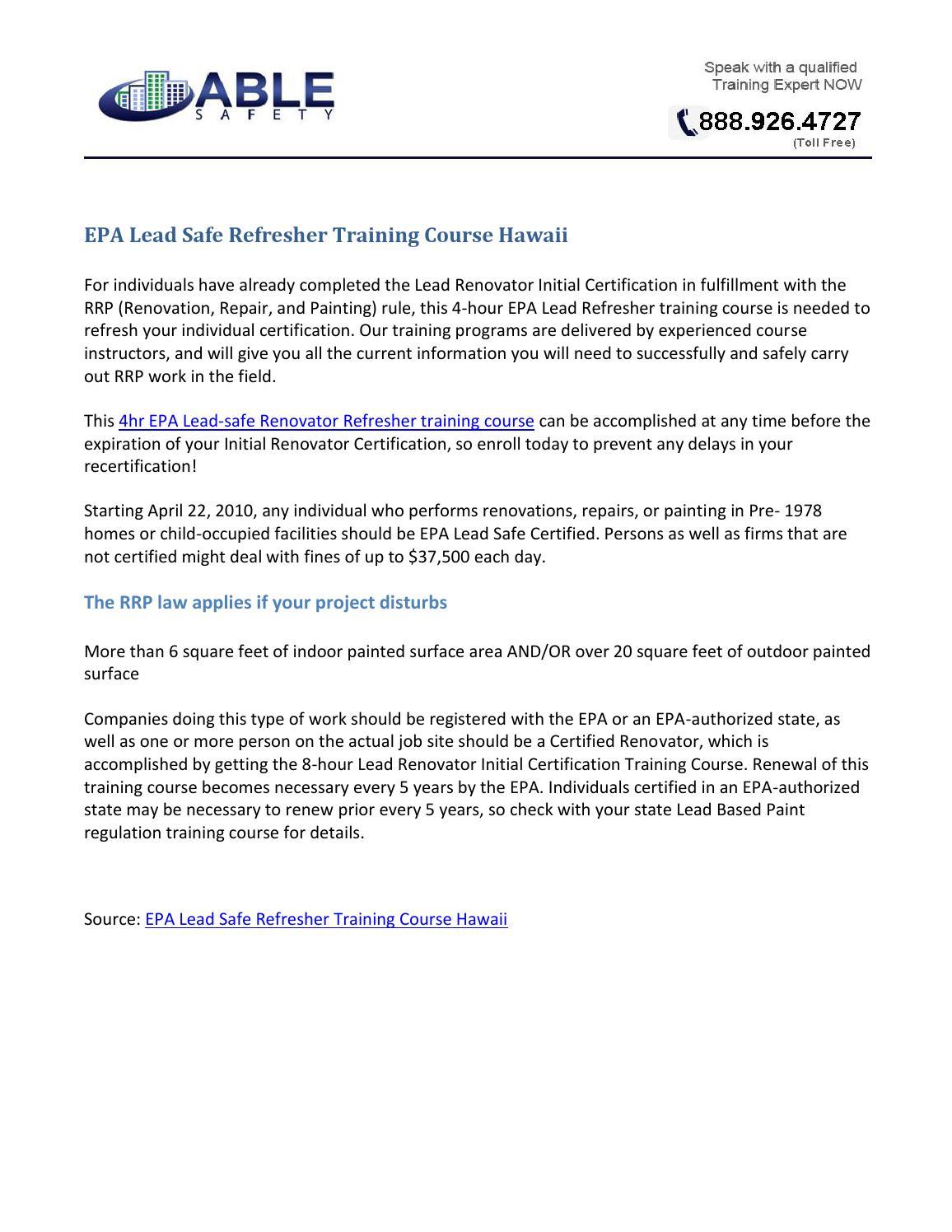 Epa Lead Safe Refresher Training Course Hawaii By John Madrigal Issuu