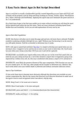 5 Easy Facts About Agar Io Bot Script Described by auspiciousjoker4