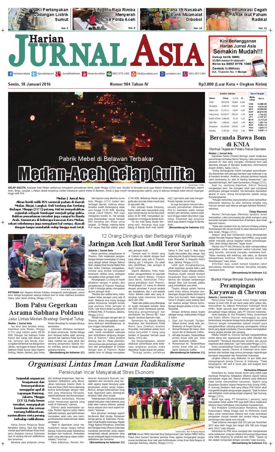 Harian Jurnal Asia Edisi Senin, 18 Januari 2016 by Harian Jurnal Asia - Medan - issuu