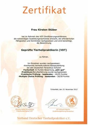 Zertifizierung tierheilpraktiker nov 2012 by Tierheilpraxis Kirsten ...