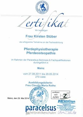 Zertifizierung pferdeosteopathie pferdephysiotherapie mai 2014 by ...