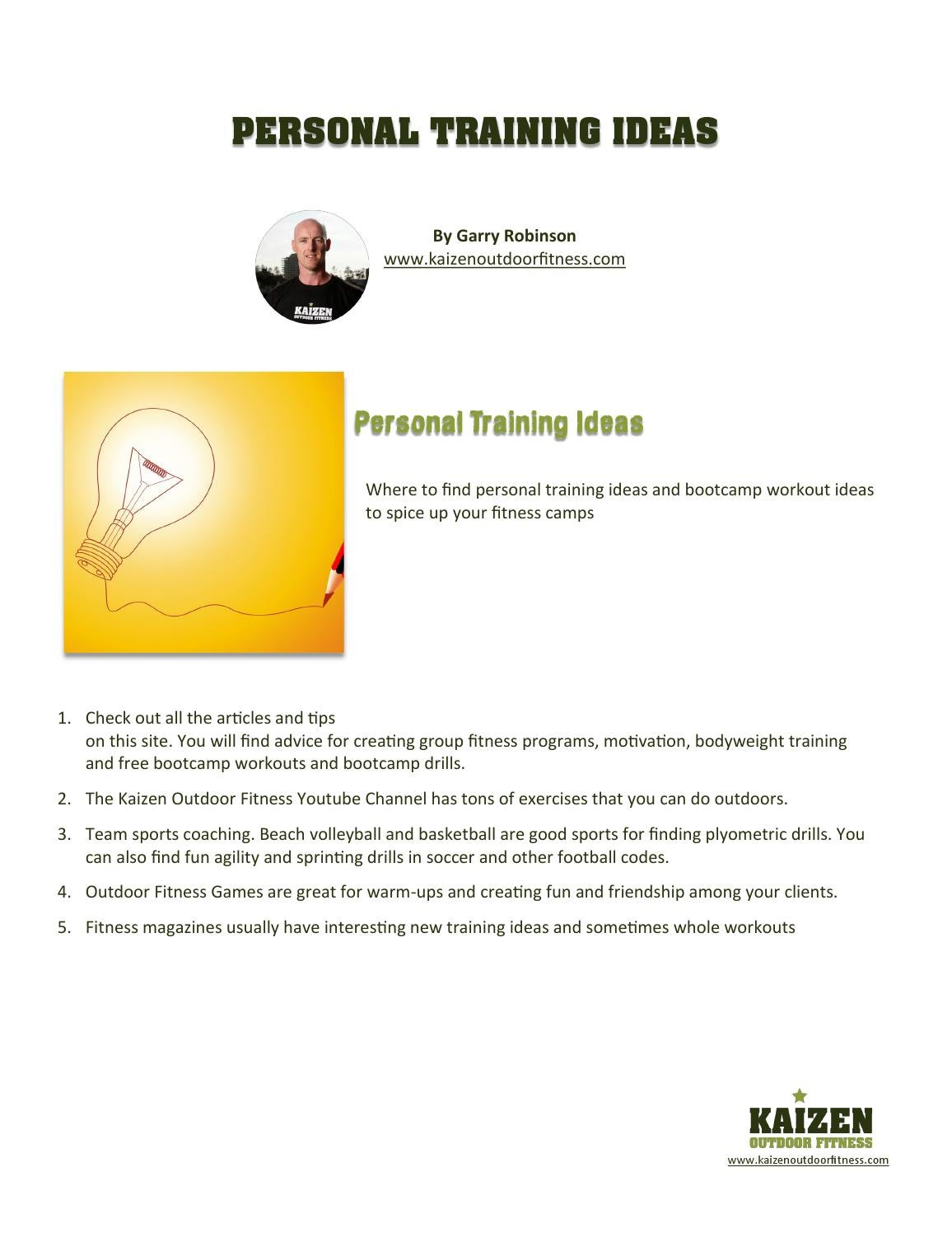 personal training ideas by kaizen outdoor fitness - issuu