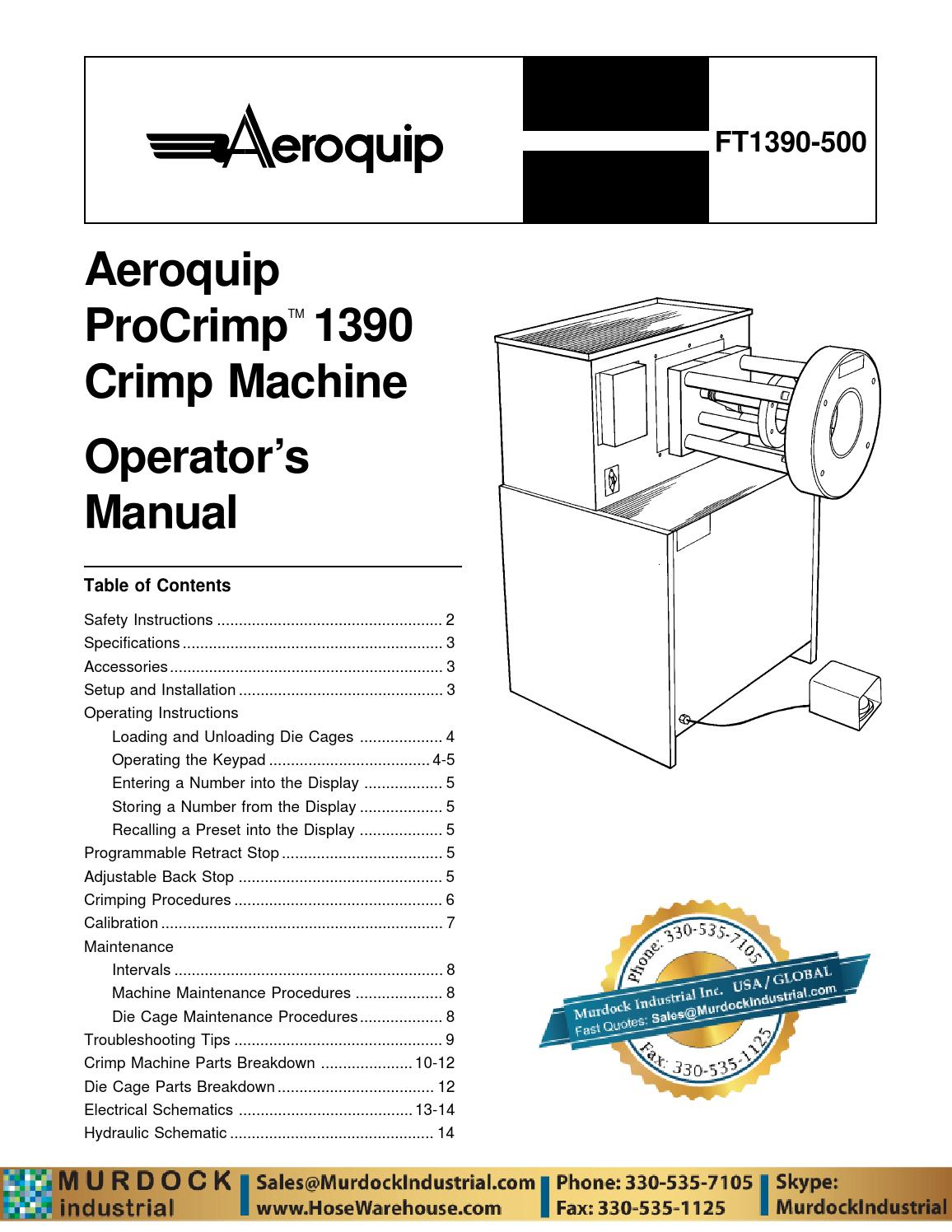 aeroquip eaton ft1390 crimp machine owners manual instructions hosewarehouse by murdock. Black Bedroom Furniture Sets. Home Design Ideas