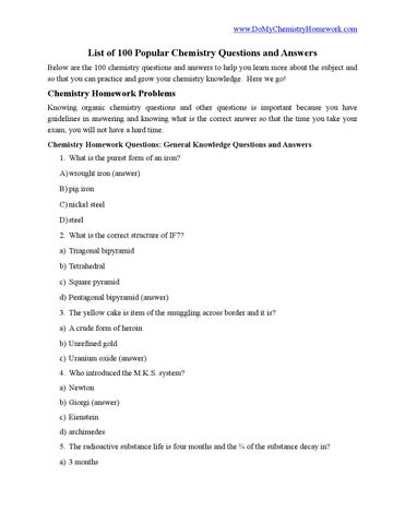 List of 100 popular chemistry questions and answers by Chris