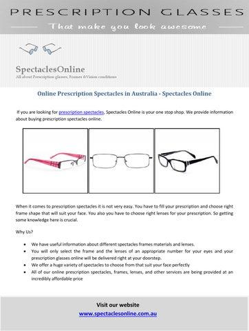 eb29c1b11c Online Prescription Spectacles in Australia - Spectacles Online by ...
